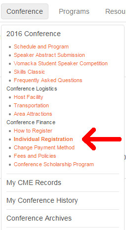 Example of the menu item for individual registrations